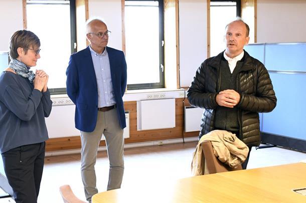 Driftsleder Gry Andersen, prosjektleder Viggo Søderblom og brukerrepresentant Esben Haldorsen.